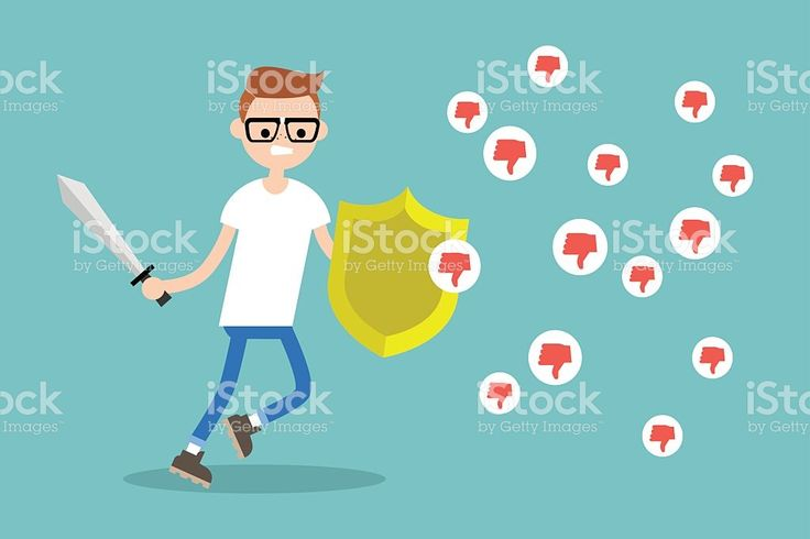 Young nerd fighting against negative reactions in social media royalty-free stock vector art