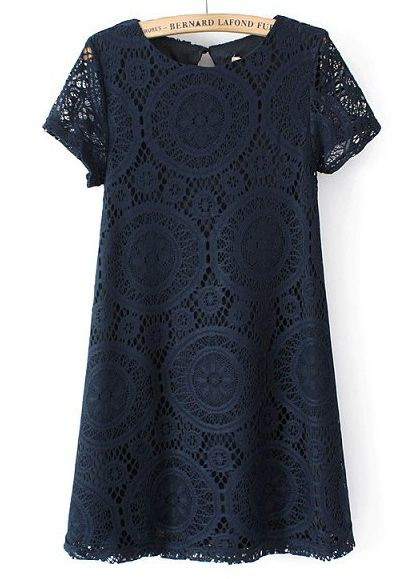 Navy Lace Loose Dress//