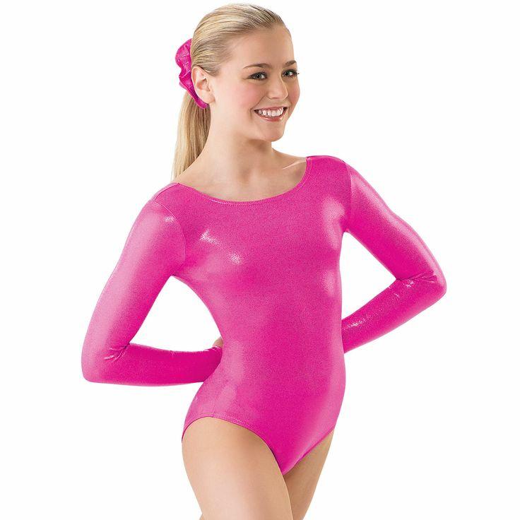 Metallic Spandex Long Sleeve Gymnastics Leotard with matching hair scrunchie