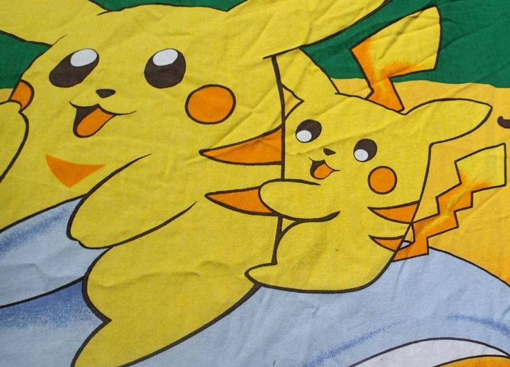 Pokemon Full Fitted Bed Sheet Craft Fabric Material Bright Colors Pocket Monster #Handmade