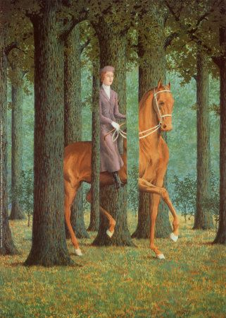 "René Magritte- Le Blanc seing, 1965. ""The woman and horse are impossibly interlaced with the forest."""
