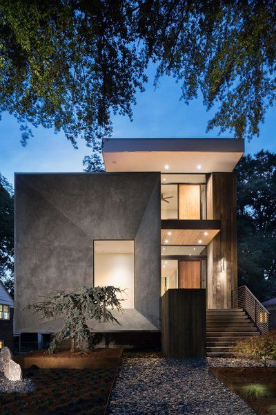 Modern Home With Exterior House Wood Siding Material Concrete