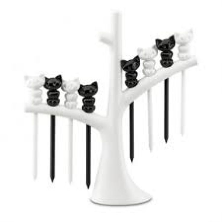 Cocktailprikkers katjes met boom MIAOU - Zwart/wit - Koziol