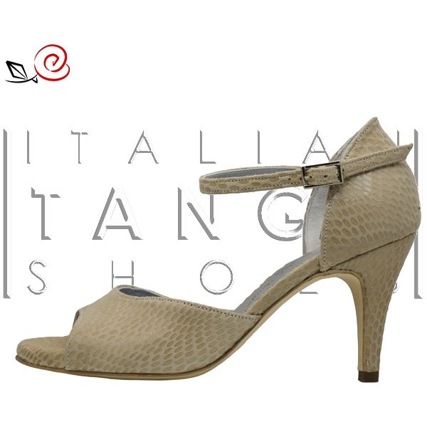 """A new """"Giada"""" model was born at www.italiantangoshoes.com  thanks to our customer Michaela from Germany... very good taste! :-) Now """"Giada"""" in beige python print leather is available at http://www.italiantangoshoes.com/shop/en/women/320-la-rosa-del-tango.html"""