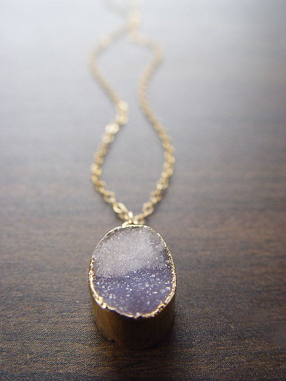 Gray Opal Drusy Necklace