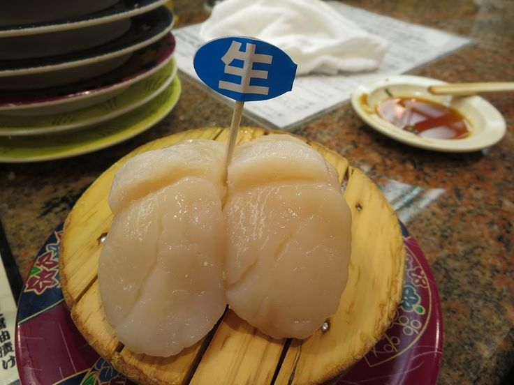 Scallop sushi  at Hanamachi, Revolving Sushi bar in Hokkaido, Japan573