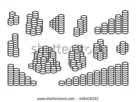 Set of stacks of coins