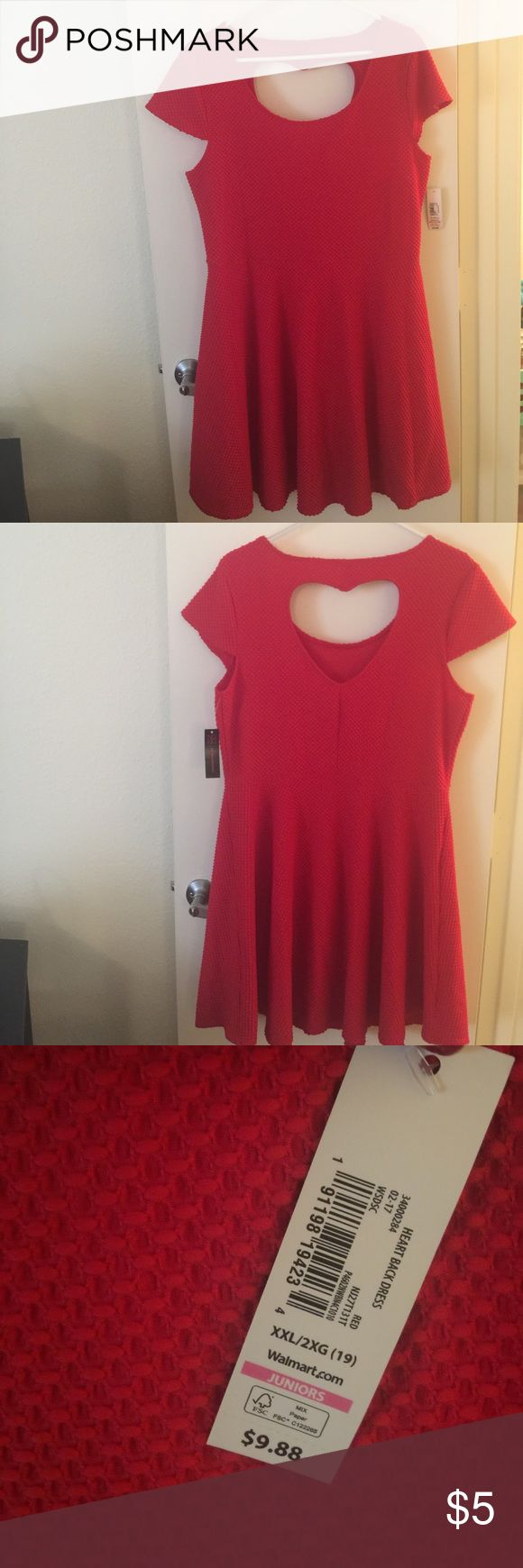 No Boundaries Heart Back Dress Cute red flowy dress for the summer, or pair with leggings for the fall and winter. Heart back cut out for an extra peek of skin. No Boundaries Dresses Mini
