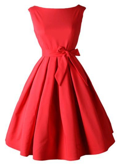 Bowknot Decorated Sleeveless Red A Line Dress on sale only US$27.79 now, buy cheap Bowknot Decorated Sleeveless Red A Line Dress at lulugal.com