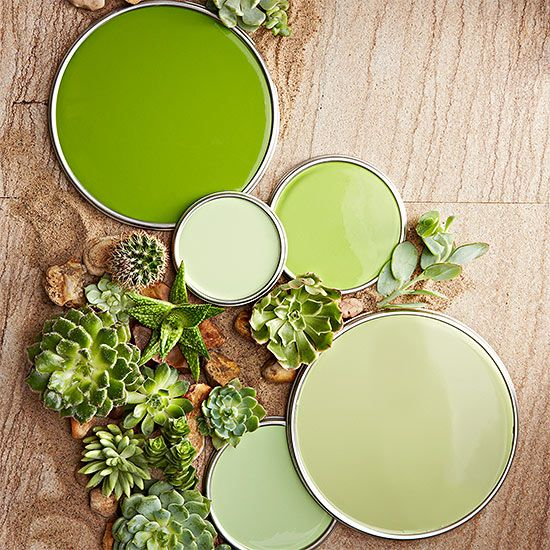 """The yellow-green shade seen in succulents are more lively than their mint or sage counterparts. """"Succulent greens are very fresh, inviting, and springlike. Even the palest hue still has a happy kick to it,"""" designer John Loecke says.  Love these colors? Click here to get the paint color names./"""