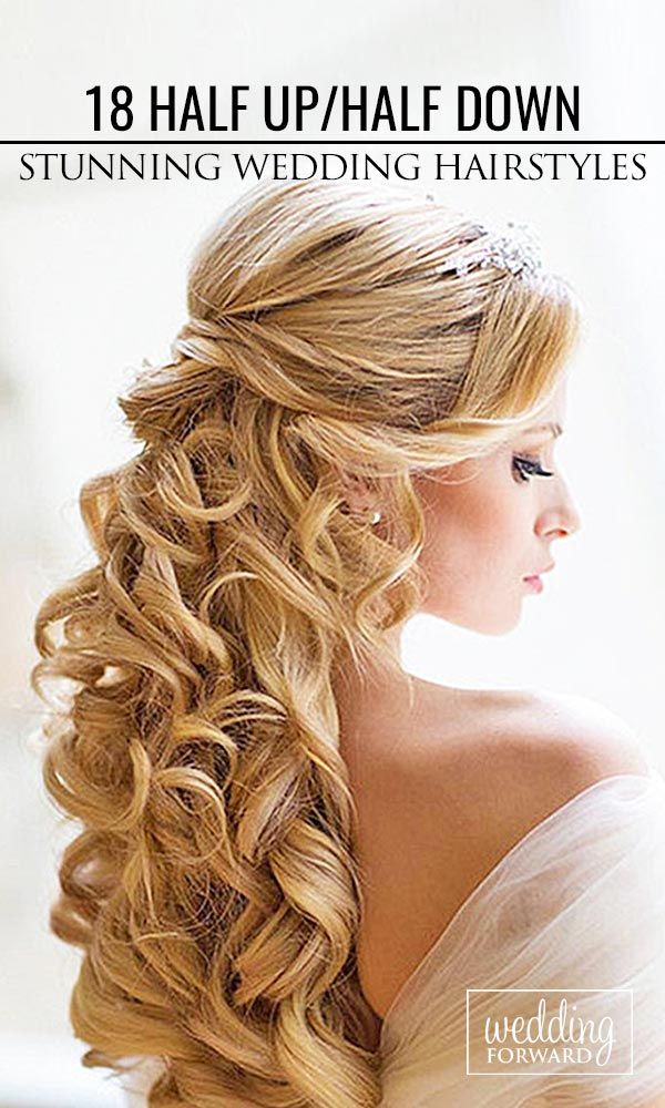 18 Stunning Half Up Half Down Wedding Hairstyles For Long Curly Hair ❤ Beautiful ideas for long hair. Layers and curls. See more: http://www.weddingforward.com/half-up-half-down-wedding-hairstyles-ideas/ #wedding #bride #weddinghairstyles