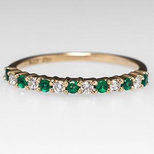 Diamond & Emerald Anniversary Band Ring 14K Gold - EraGem