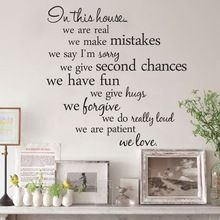 Regole della casa del vinile quote wall stickers home decor soggiorno fai da te nero wall art decalcomanie smontabile autoadesivo per la decorazione(China (Mainland))