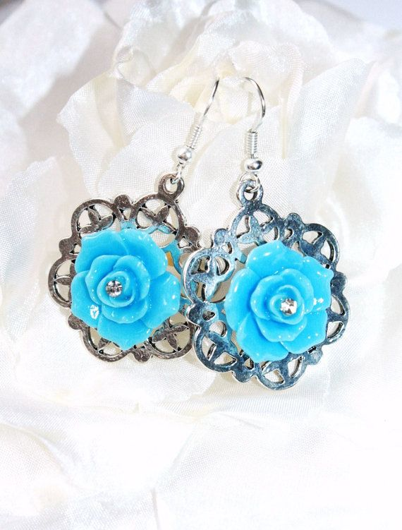 SALE boxing day Shabby chic Big Blue Rose by IraleneJewellry, $14.99