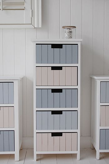 Beach bathroom tallboy storage free standing unit with 5 drawers photograph. Ideas and designs in furniture for decorating your coastal bathroom from The White Lighthouse www.thewhitelighthousefurniture.co.uk
