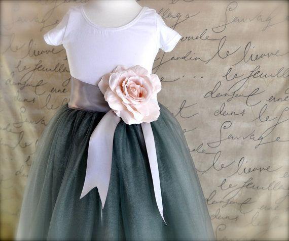 Grey Flower Girl tutu tulle skirt por TutusChicOriginals en Etsy