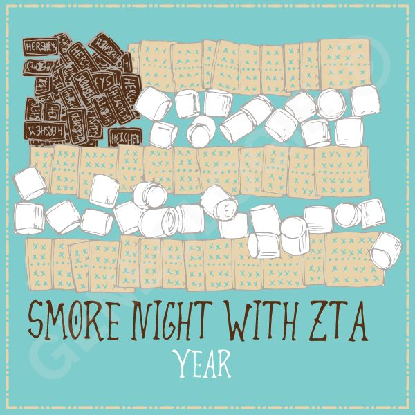 Geneologie | Greek Tee Shirts | Greek Tanks | Custom Apparel Design | Custom Greek Apparel | Sorority Tee Shirts | Sorority Tanks | Sorority Shirt Designs  | Sorority Shirt Ideas | Greek Life | Hand Drawn | Sorority | Sisterhood | ZTA | Zeta Tau Alpha | Smore Night | Dessert | Food Function | Social