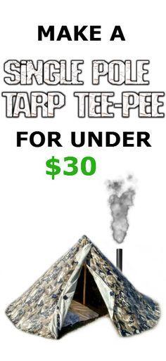 how to make cheap tarp teepee tipi tent shelter image