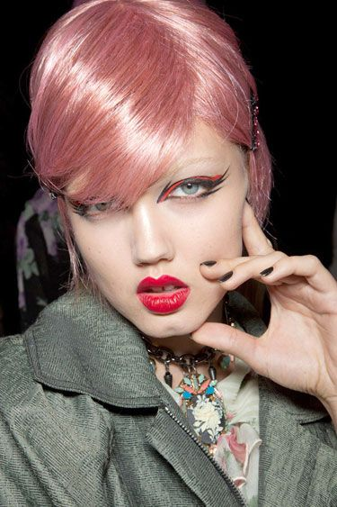 Nail Trends Spring 2013 - Best Spring Nail Polish Colors 2013 - Harper's BAZAAR dark nails, dramatic eyes @ Anna Sui