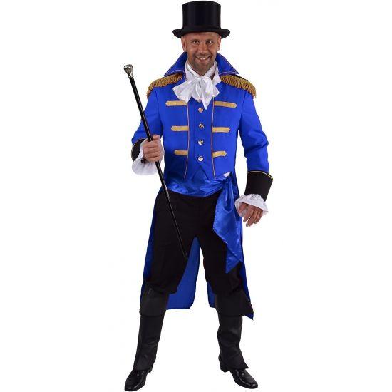 Luxe circus jas blauw voor heren. Luxe circus presentator mantel in het blauw met aangehecht gilet. De mantel is gemaakt van 100% polyester met prachtige goudkleurige details en epauletten.