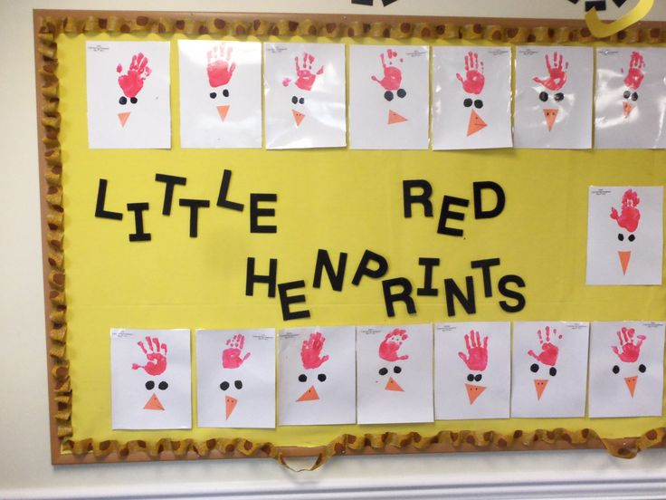 "We used the children hands to create ""little Red Henprints"" after we read the book ""The Little Red Hen"""