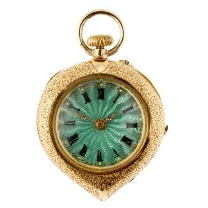 A 14k gold keyless wind open face fob watch.