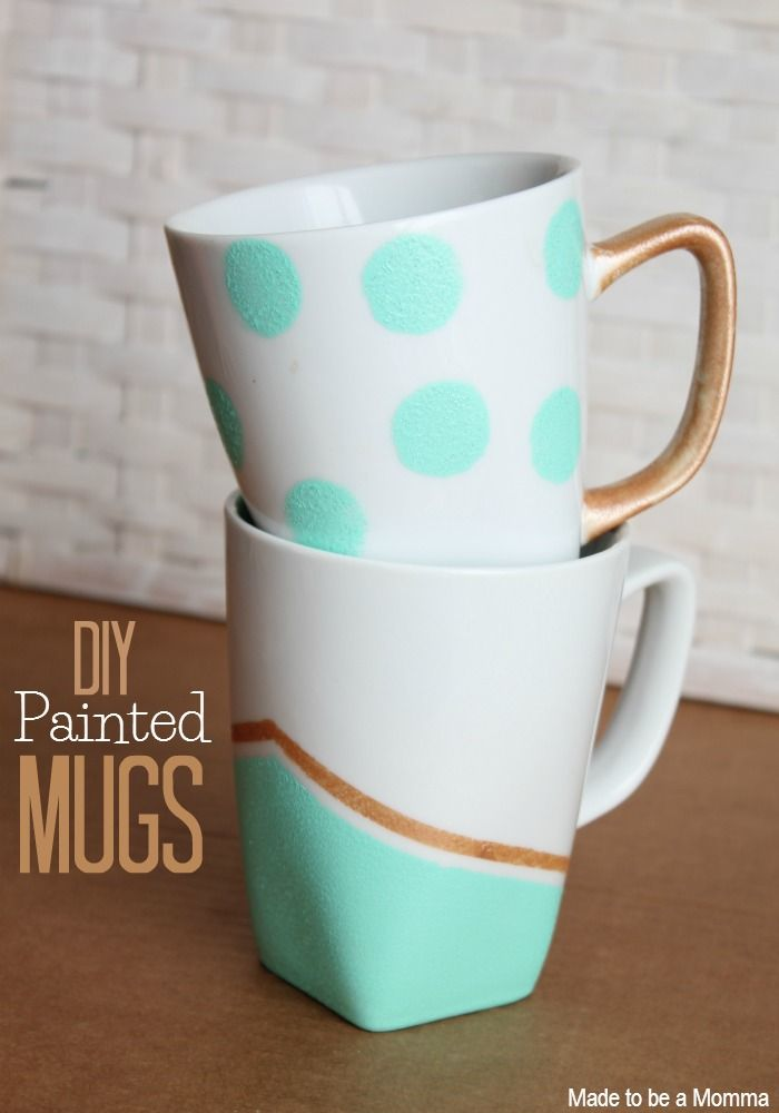 Diy Painted Mugs - what a super cute gift these would make!