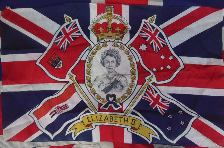 Vintage Queen Elizabeth Second Coronation Flag Www
