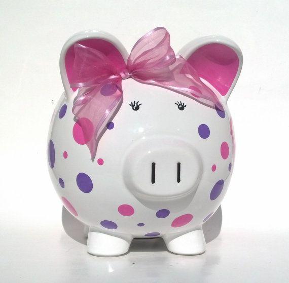 Personalized Polka Dot Ceramic Piggy Bank por SamselDesigns