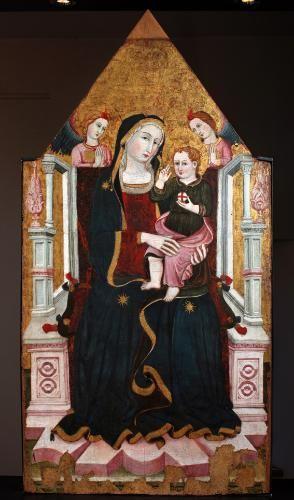Maestro di Narni del 1409 - Madonna con Bambino in trono - fronte Stendardo ligneo bifacciale - Narni - Museo Eroli