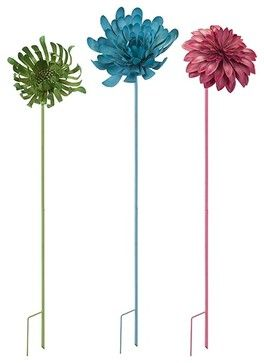 Crandall Metal Flower Garden Stake or Wall Decor, Set of 3 - contemporary - Gardening Accessories - Fratantoni Lifestyles