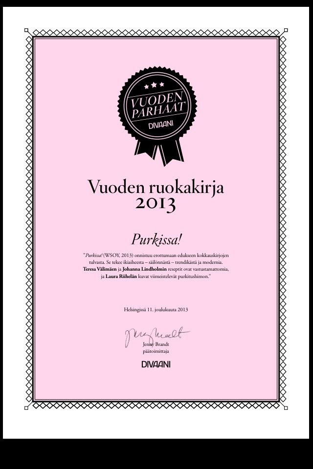 Our Purkissa! -cookbook is the best cookbook of the year! Chosen by Divaani magazine in Finland.