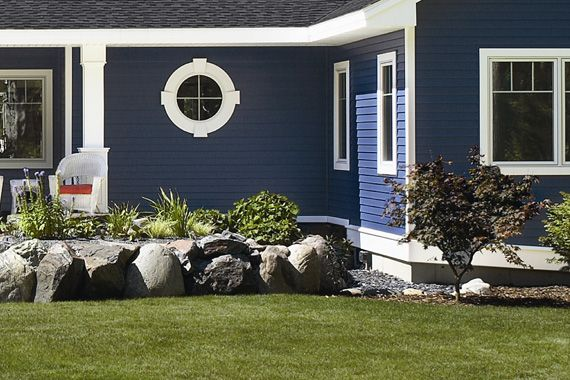 Dark blue siding i love it home inspirations for Blue siding house