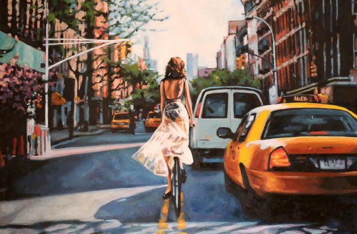 "Saatchi Online Artist: thomas saliot; Oil 2013 Painting ""NYC bike and car"""