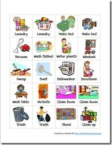 printable.  toddler chore chart cards
