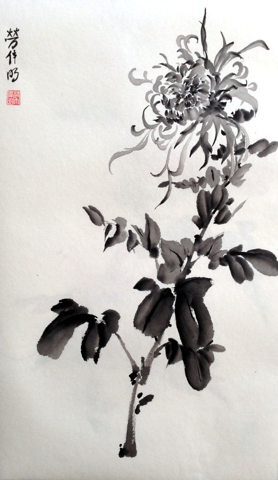 This is an original hand-painted painting done using Japanese Ink on Rice Paper. Mums have a deep history in Asian and Western cultures, being