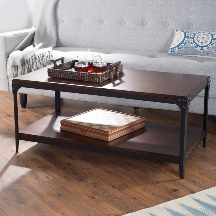 Belham Living Trenton Wood and Metal Coffee Table - A coffee table is a piece that is almost always found at the center of a room and used daily, so don't settle for something else when you can ...