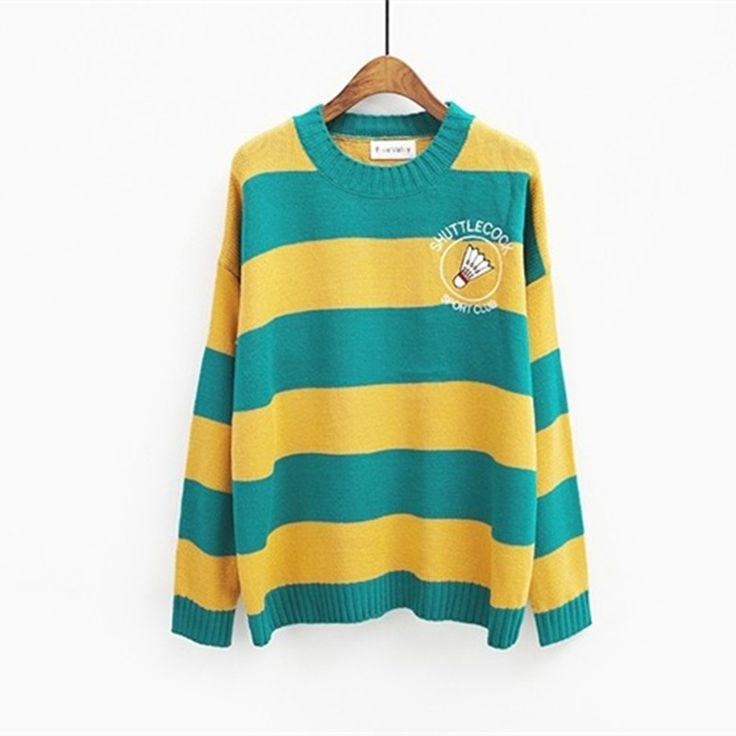 Harajuku 2016 Korean new winter casual sweaters cartoon candy colored stripes embroidery loose sweater women badminton racket-in Pullovers from Women's Clothing & Accessories on Aliexpress.com | Alibaba Group