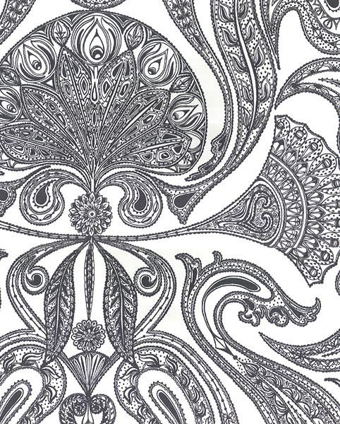 $70/roll comes from europe 4 week lead Malabar Wallpaper Black on white Indian paisley design wallpaper