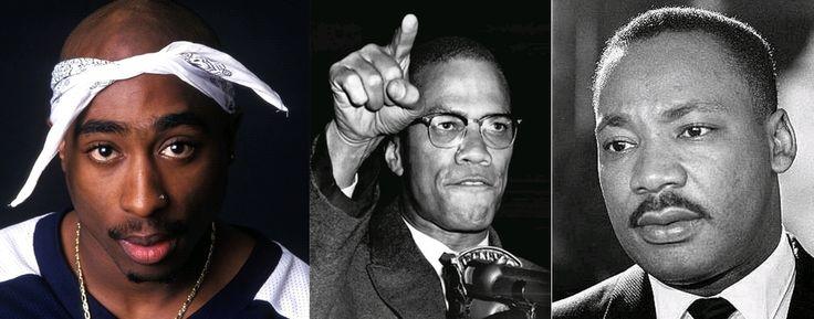 Tupac Shakur - Malcom X - Martin Luther King. Tous trois engagés, différemment, pour la reconnaissance des Noirs et de leurs droits.