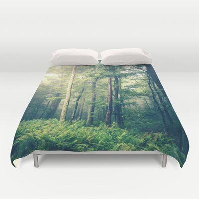 Inner Peace Duvet Cover / dorm decor / woodland bedroom / forest cottage decorating / fog / dreamy / bedroom decor / hipster