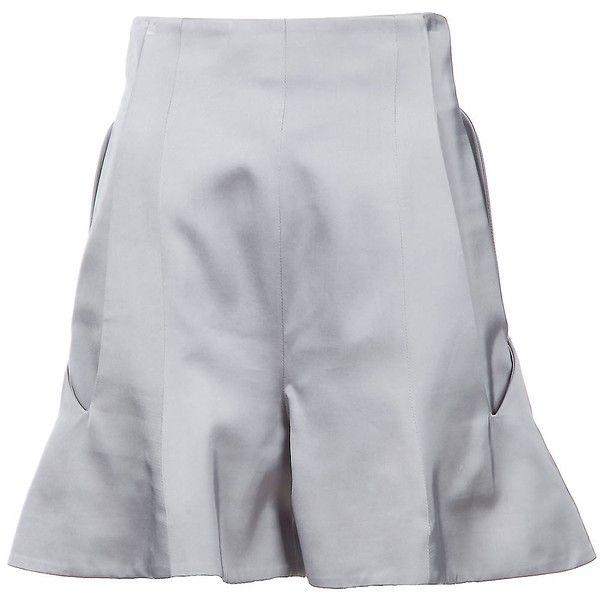 HUSSEIN CHALAYAN WA202 WFA8 750 SILVER VISCOSE TC 1777 ($515) ❤ liked on Polyvore featuring shorts, skirts, women, short, chalayan, silver shorts, viscose shorts, pleated shorts and rayon shorts