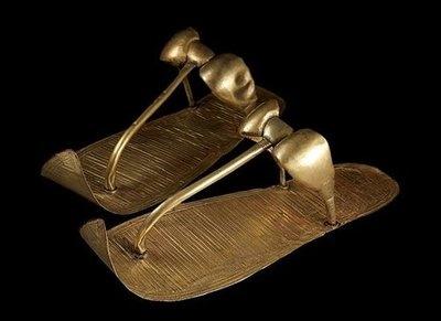 King Tut's golden sandals, Egyptian, c. 1324 B.C.