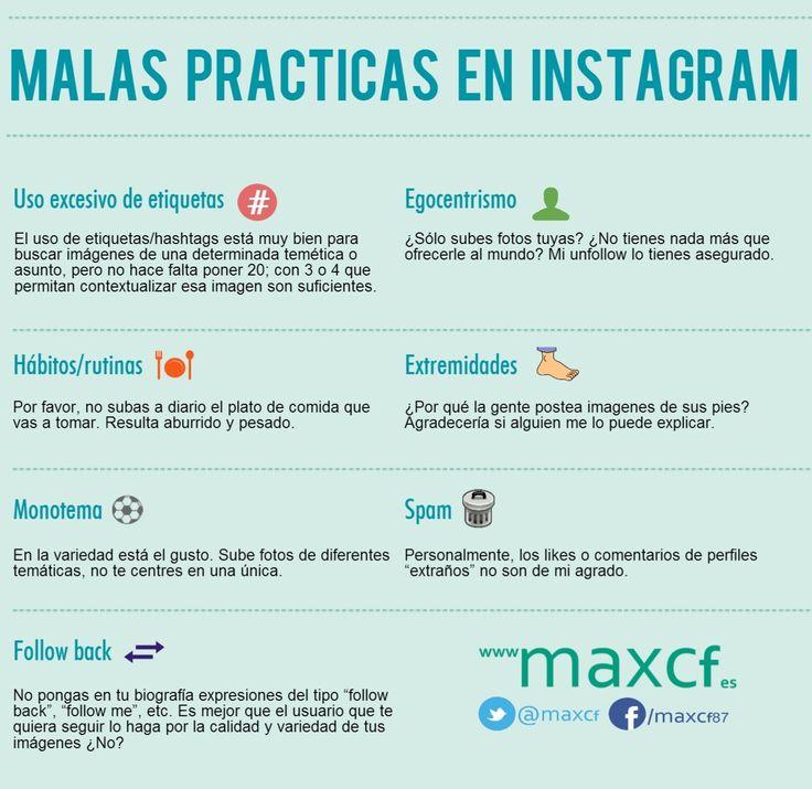 Malas prácticas en Instagram @Max Strandlund Camuñas Fernández #infografia #infographic #socialmedia