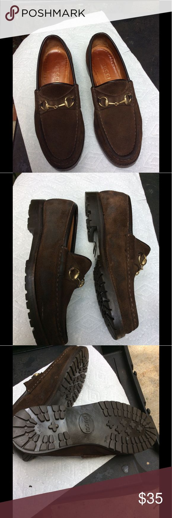 Authentic Gucci brown loafers, could use love sz6 Suede can use a good suede brush but they're too small now & don't want to spend the time. Selling cheap! Size 6 . Soles in perfect condition, still have lots of wear in them. Gucci Shoes Flats & Loafers