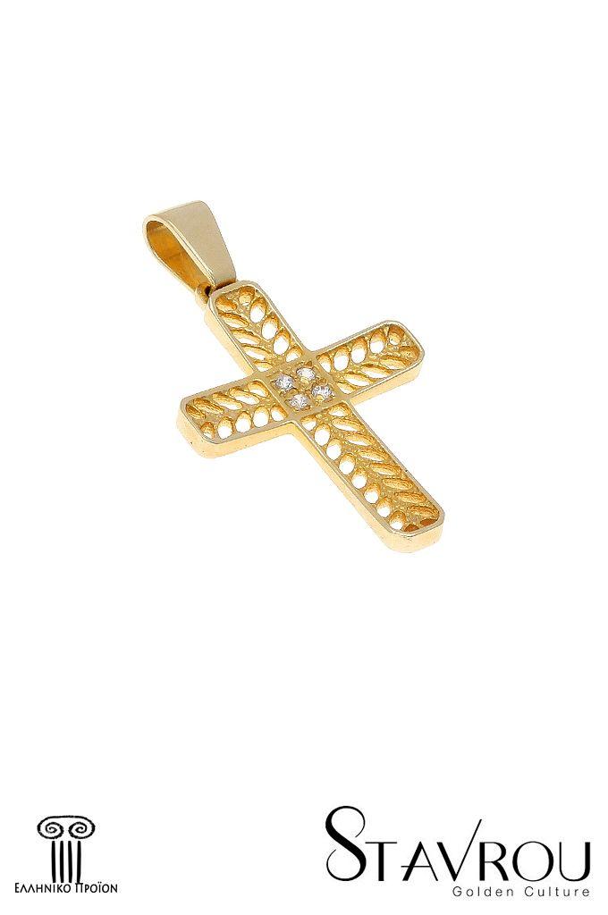 Γυναικείος σταυρός βάπτισης σε χρυσό Κ14 με ζιργκόν. Διαστάσεις : 18.80 x 32.70 mm Δυνατότητα επιλογής σε λευκό χρυσό Κ14 #σταυροί_βάπτισης #βαπτιστικοί_σταυροί #χειροποίητα_κοσμήματα #γυναικείοι_σταυροί  #σταυροί #σταυροί_με_ζιργκόν