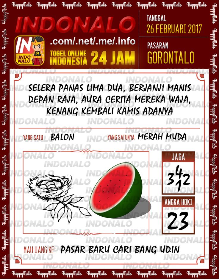 Rumus Taysen 2D Togel Wap Online Live Draw 4D Indonalo Gorontalo 26 Febuari 2017