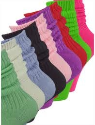 Slouch Socks...think I had every color there was.. whatever color I wore that day, had matching slouch socks to go with it! even doubled on the colors here n there! should bring them back..:)
