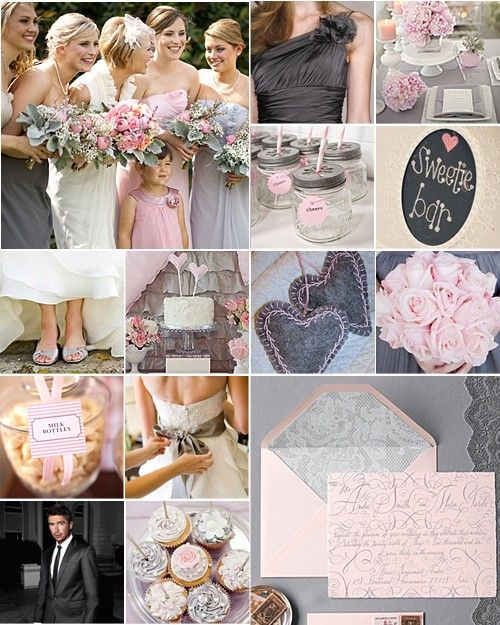 Grey and pink- I love everything about this wedding theme and colors!  It's what I got my inspiration from!