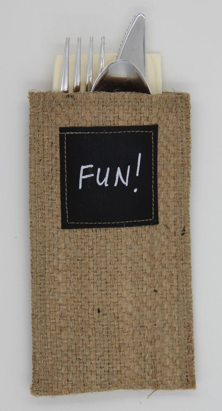Chalkboard Burlap Silverware Holder - Set of 8